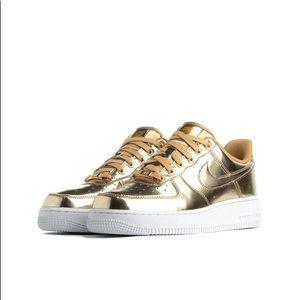 Nike Air Force 1 Metallic Gold size 8 ladies